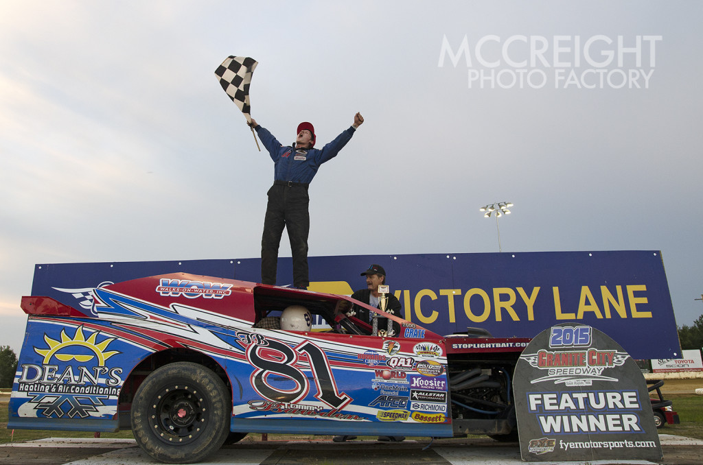 Tommy Bawden celebrates his first victory
