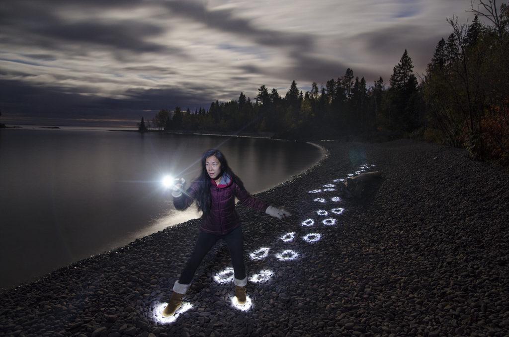 footprint-light-painting